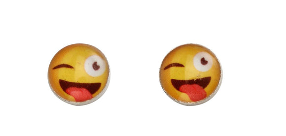 Sterling Silver emoji stud earrings