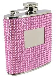 Stainless Steel & Bling Pink Crystal Ladies 6oz Hip Flask FL54 with  engraving Plate