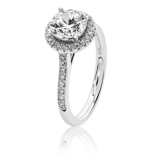 STERLING SILVER  CLAW SET ROUND HALO STYLE CZ RING