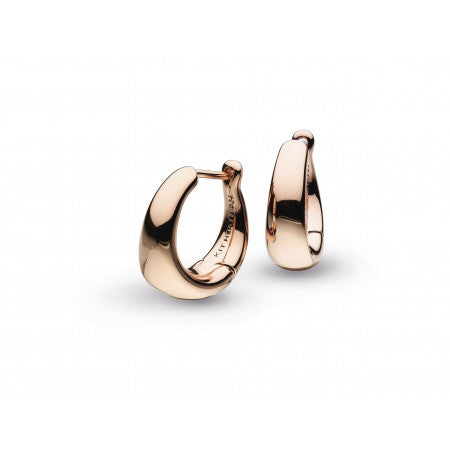 Kit Heath Bevel Cirque Small Hinged Rose Gold Hoop Earrings
