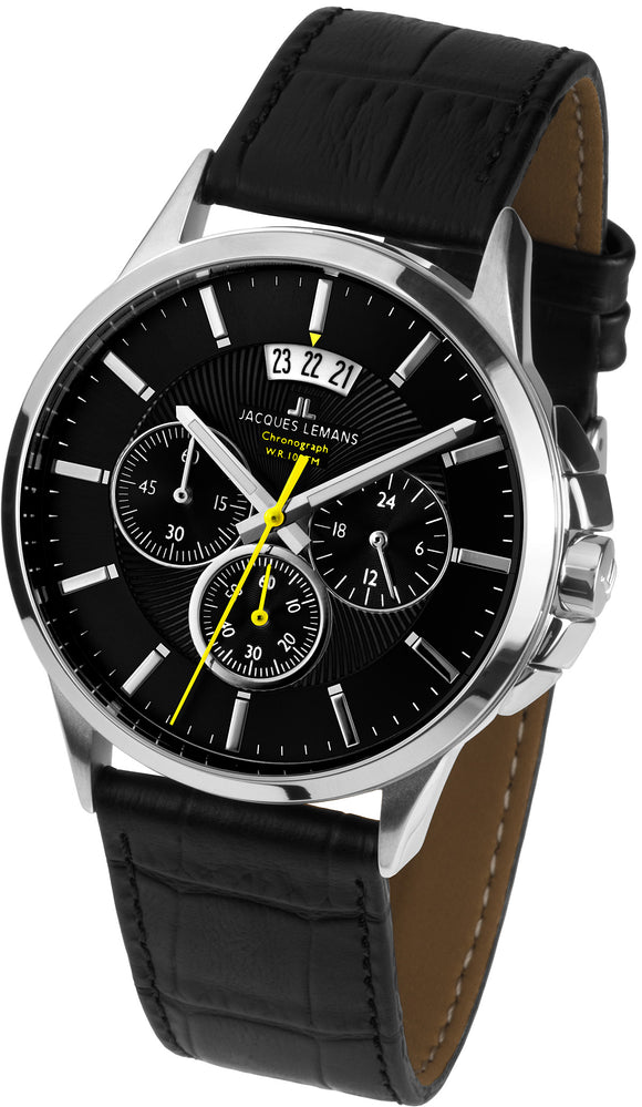Jacques Lemans Sydney Chronograph Black Leather Watch