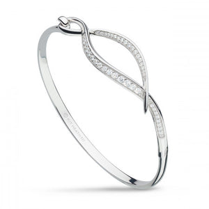 Kit Heath Entwine Twine Twist CZ Pavé Hinged Bangle