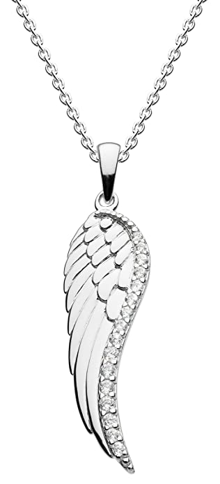 Dew Sterling Silver Round Cubic Zirconia Wing Pendant