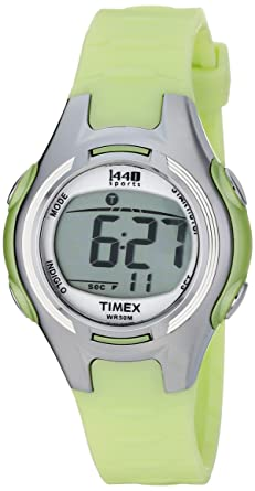 Timex 1440 Ladies Watch T5K0814E with LCD Dial and Green Resin Strap