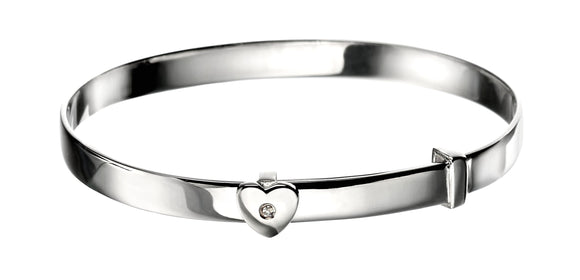 D for Diamond Heart Bangle