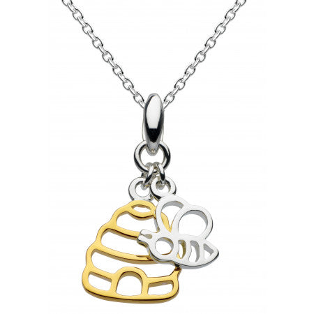 Dew Sterling Silver & 14ct Gold Plate Honey Bee Yourself Gold Plated Hive & Bee Pendant