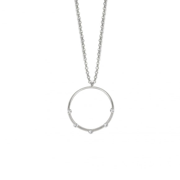 Victoria Cruz Silver Round Crystal Pendant and Chain
