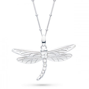 Kit Heath Blossom Flyte Dragonfly White Topaz Ball Chain Statement Necklace