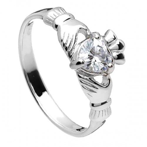 Sterling Silver Claddagh Birthstone Ring (April)