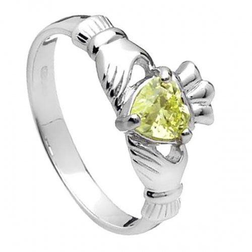 Sterling Silver Claddagh Birthstone Ring (August)