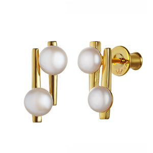 JERSEY PEARL STERLING SILVER YELLOW GOLD PLATED AVA PEARL EARRINGS