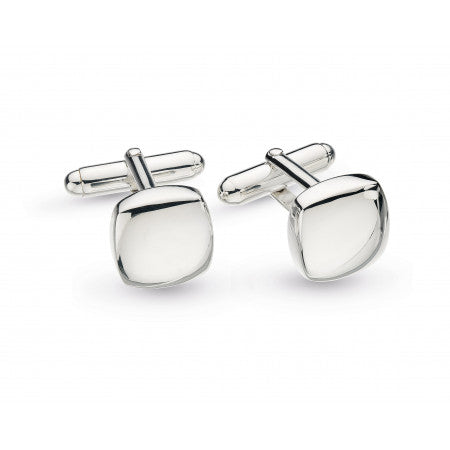 Kit Heath Domed Square Engraveable Rhodium Plate Cufflinks