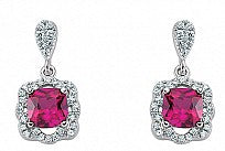 Silver CZ Ruby and Micropavé Cushion Cut Drop Earrings