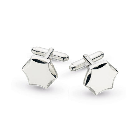 Kit Heath Revival Hexagon Engraveable Rhodium Plate Cufflinks