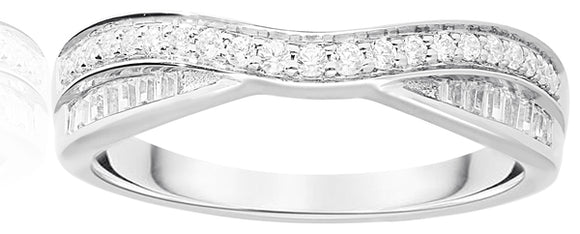 9ct  gold Double Row Diamond Ring