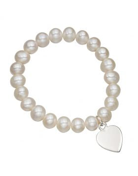 White Freshwater Pearl stretch Bracelet with Sterling Silver Heart