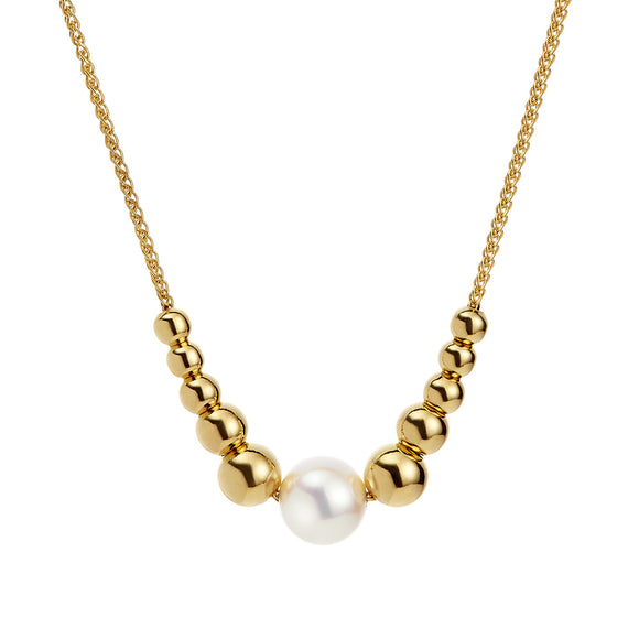 JERSEY PEARL STERLING SILVER YELLOW GOLD PLATED COAST PEARL NECKLACE