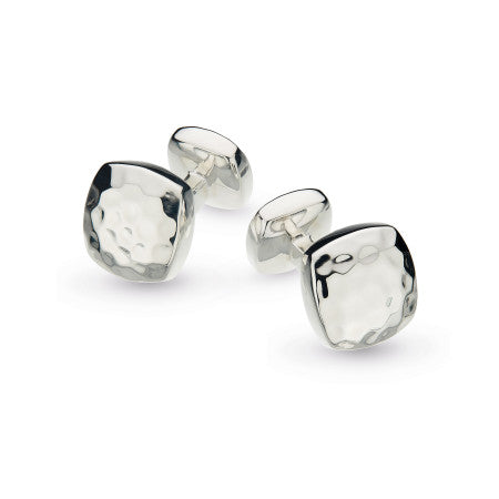 Kit Heath Domed Square Hammered Rhodium Plate Cufflinks