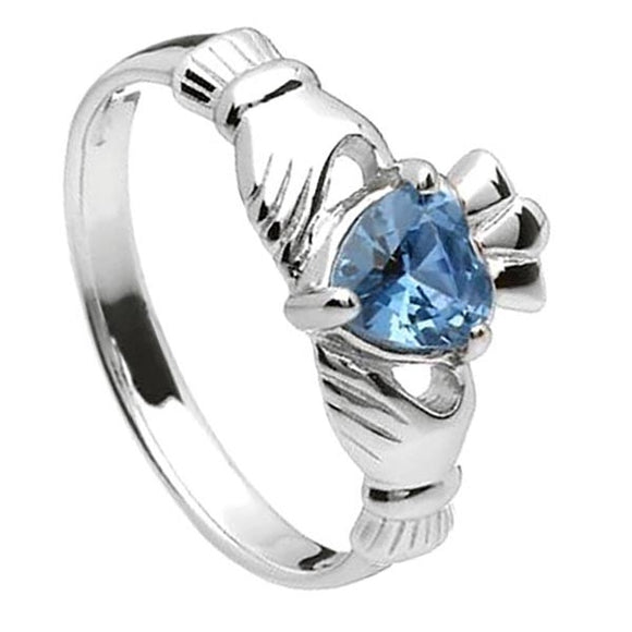 Sterling Silver Claddagh Birthstone Ring (December)