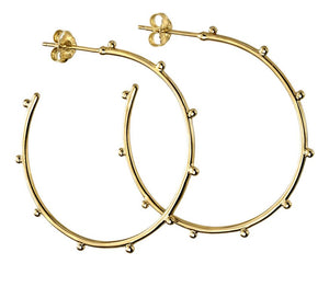 Silver Gold Plated Studded 3/4 Hoops (E5859)