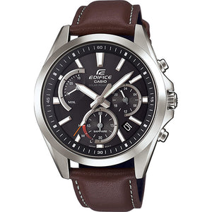 Casio Edifice Men's Solar Sapphire Chronograph Brown Leather Strap Watch