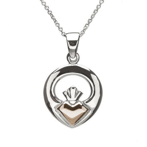 House Of Lor Sterling Silver Claddagh Pendant With Rose Gold
