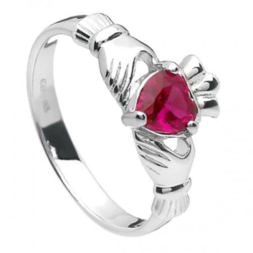 Sterling Silver Claddagh Birthstone Ring (July)