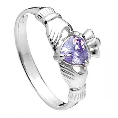 Sterling Silver Claddagh Birthstone Ring (June)