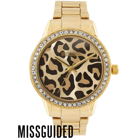 Missguided Ladies G/Plated Leopard Print Dial B/W
