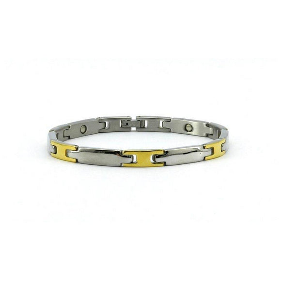 MAGRELIEF MAGNETIC STAINLESS LINK HEALTH BRACELET HIGH POLISH SILVER & GOLD COLOUR