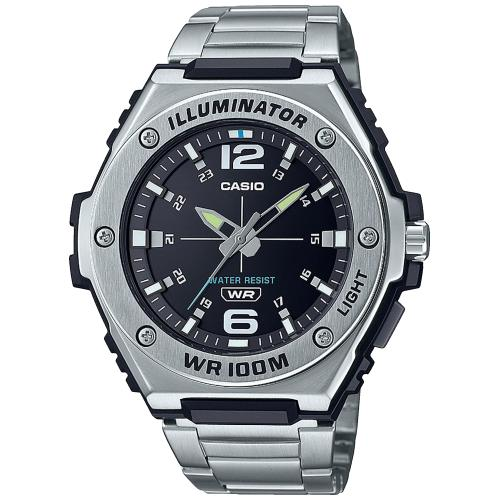 Casio Illuminator Black Dial Stainless Steel Watch