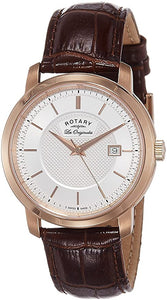 Rotary Mens Round Silver Dial Rose Gold Plating GS90093/06