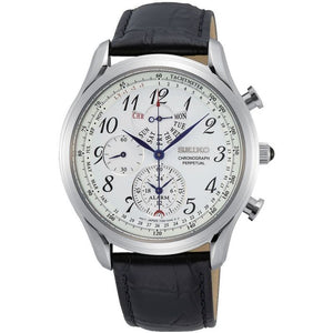 Seiko Gents Chronograph Black Leather Strap Watch