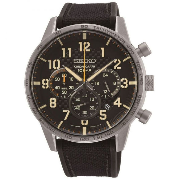 Seiko Gents Chronograph Canvas Strap Watch