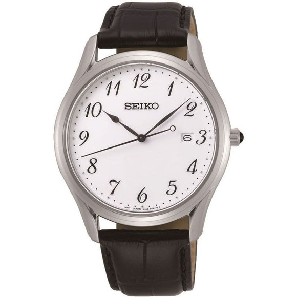 Seiko Gents S/Steel Black Leather Strap Watch