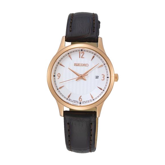 Seiko Ladies Date Leather Strap Watch
