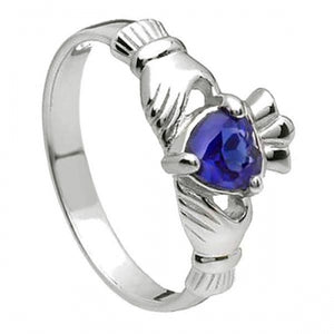 Sterling Silver Claddagh Birthstone Ring (September)