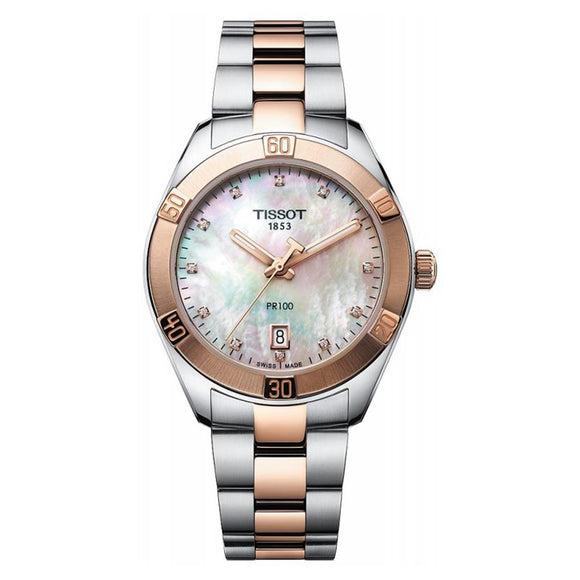 Tissot Ladies PR 100 MOP Diamond Watch