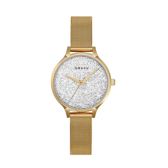 OBAKU STJERNER - GOLD PLATED MESH BRACELET WATCH