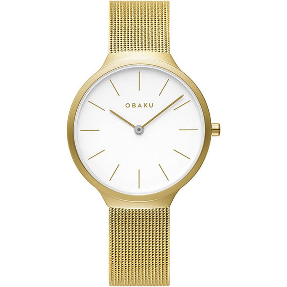 OBAKU ARK LILLE - GOLD PLATED MESH BRACELET WATCH