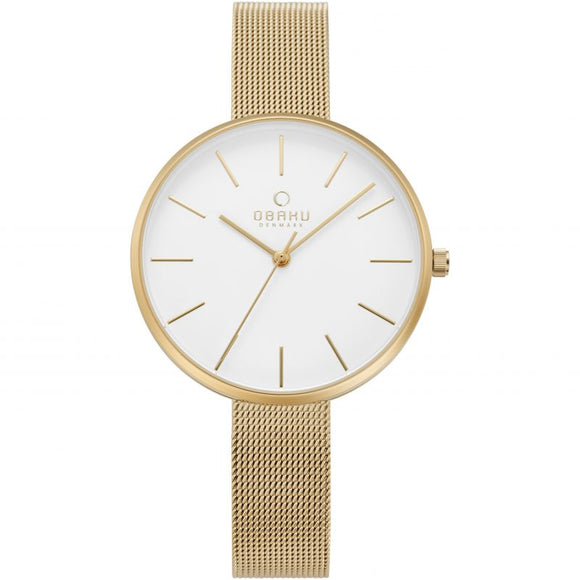 Obaku Ladies Gold Plated Mesh Bracelet Watch