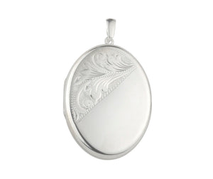 Silver 20mm 1/2 Engraved Oval Locket