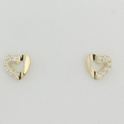 9ct yellow gold open heart stud earrings with white cz