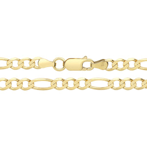 9ct Yellow Gold Curb Figaro Bracelet