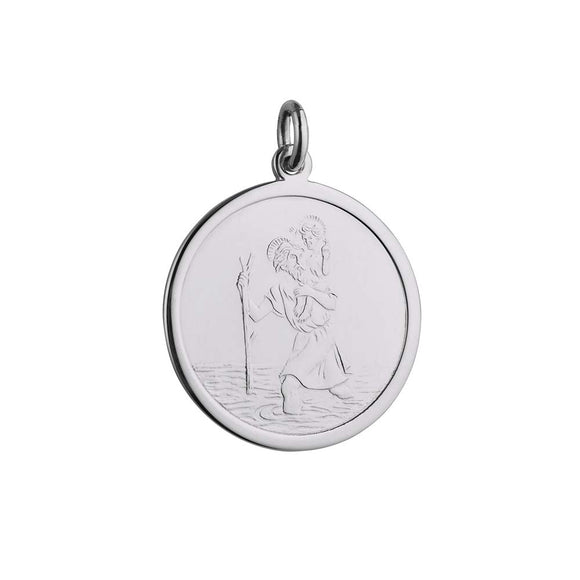 Silver 25mm plain round St Christopher Pendant