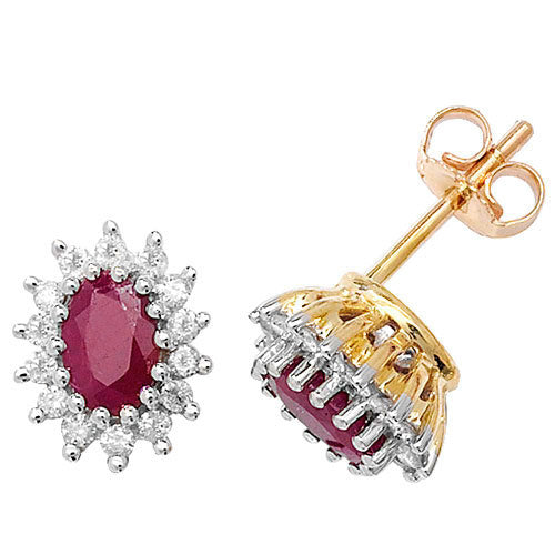 9CT YELLOW GOLD RUBY & DIAMOND EARRING
