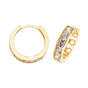 9ct Yellow Gold CZ Hinged Earring
