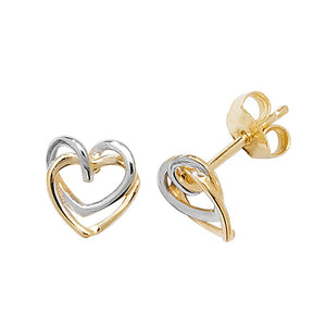 9ct 2 Tone Heart Stud Earring