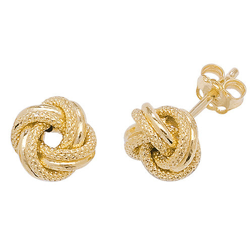9ct Yellow Gold Knot Stud Earring