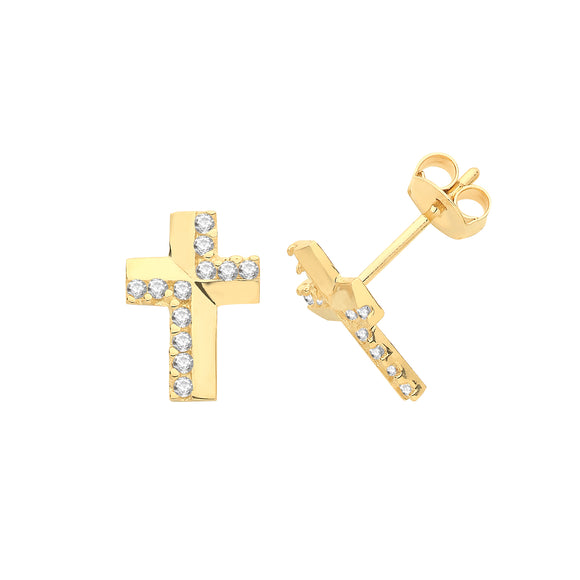 9ct Yellow Gold CZ Cross Stud Earring